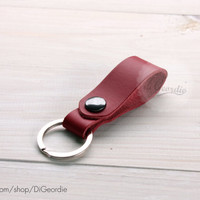 Red leather key fob leather keychain key chain genuine leather key chain belt strap key fob keychain leather key holder keychain leather