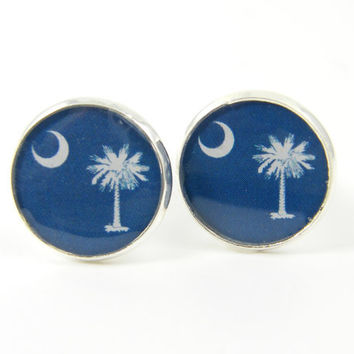 Mens Cufflinks South Carolina State Flag Patriotic Blue White Palmetto Tree Crescent Moon Jewelry for Man