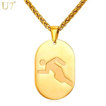 U7 New Necklace Track Racing Games Unisex Stainless Women Jewelry Gold Color Dog Tags Necklace For Men P842