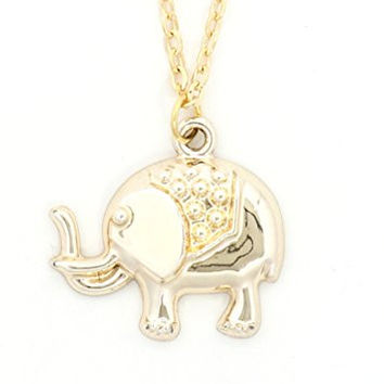 Elephant Necklace Gold Tone Indian African Pendant NR12 Fashion Jewelry