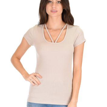 Lyss Loo V-Neck Strappy Taupe Ribbed Top