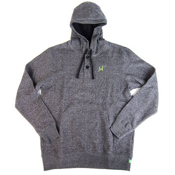 HUF: Granite Henley Pullover Hoodie - Charcoal Heather - Charcoal Heather /