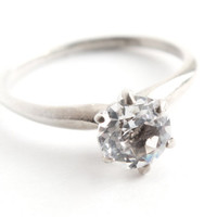 Vintage Sterling Silver Faux Diamond Ring -  Size  8 1/2 Elegant Rhinestone Solitaire Jewelry / 1 Carat Sparkle