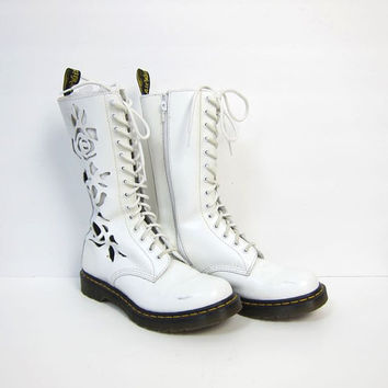 Dr. Martens White Leather Rose Cut Out 14 Eye Boots Tall Chunky 90s Doc Martens Lace Up Combat Flower Boots Women's UK 7 or Size USA 9
