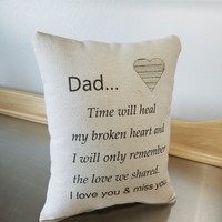 Dad memory pillow sympathy gift for loss of dad cotton cushion
