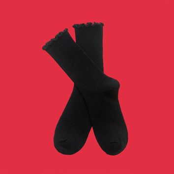 Princess Lulu Ruffle Socks | Black