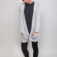 One Size Gray Knit Cardigan
