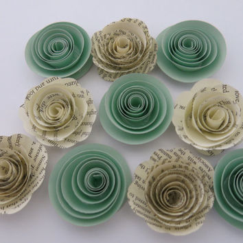 "Mint Green and Book page paper flowers, 10 piece set, 1.5"" roses, jungle theme baby shower decor, place setting favors, wedding table decor"