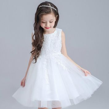 Retail Appliques Flower Girl Dresses With Tassel Pattern Lace Knee-Length Party Gown Sleeveless Big Bow Ball Gown L-116