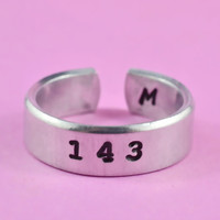 143 ---Love Ring, Hand Stamped Ring, Pure Aluminum, Shiny, Skinny Ring, Best Gift Ring.