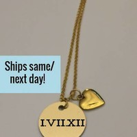 Roman Numerals Necklace, Anniversary Necklace, Long Distance, Long Distance Friends, Long Distance Relationship, Engraved Necklace