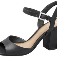 Black Leather Sandal Block Heel - Dumond