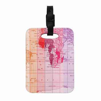 "Catherine Holcombe ""Rainbow World Map"" Multicolor Travel Decorative Luggage Tag"