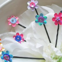 Flower Hair Pins  Set of five  assorted in by embellishingyou