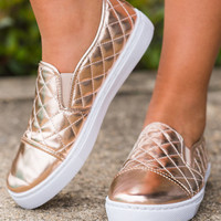 Can't Stop My Shine Sneakers, Rose Gold