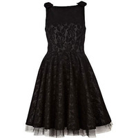 black longer length lace prom dress