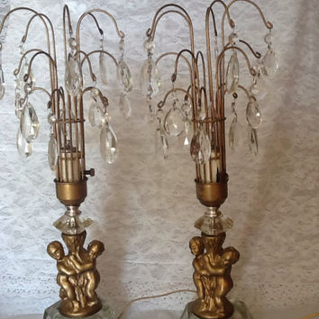 Vintage Pair Crystal Candelabras Lamps Waterful Fountain Style with Cherubs