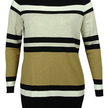 INC Women's Striped Crewneck Sweater