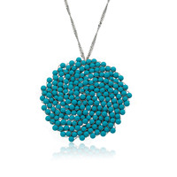 Riccova AVANT-GARDE Large Circle Lace Necklace Turquoise