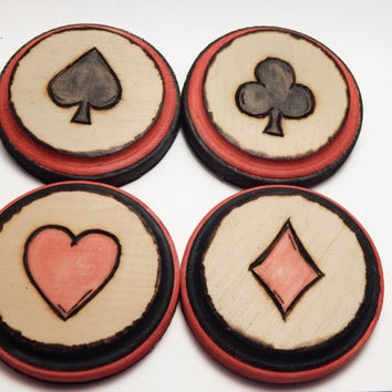 Wood drink coasters Drink coaster set Wood coasters wooden coasters handmade poker playing cards man cave pyrography home decor table beer