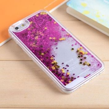 LMFEJ6 Hot Pink Star Dynamic Liquid Glitter Sand Quicksand Star Bling Clear iPhone 5/5S Phone Case