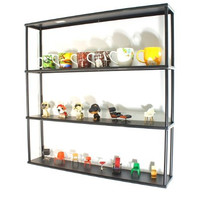 """Wall-Mounted Steel Shelving Unit - 36"""" H x 36"""" W x 6"""" D - Black - for kitchen, storage, or display use."""