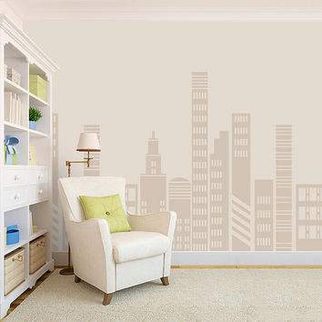 City View Decal - Vinyl Decal - Apartment Decor - Wallpaper Decal - City - Solid Color Decal