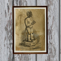 Hanuman print Old paper Hindu God Vintage art antique looking