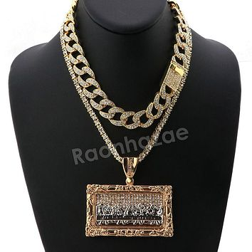 Hip Hop Iced Out Quavo Last Supper Miami Cuban Choker Chain Tennis Necklace L44