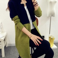 Slim Two Toned Women Long Cardigan