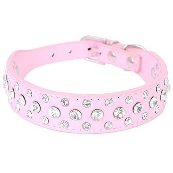 1 Inch Wide Bling Rhinestone Diamond Cat Dog Collars PU Leather Pet Strap for Dogs Red Black Pink 3 Colors