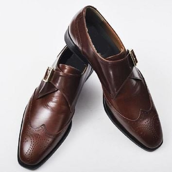 Men Brown Brogue Wingtip Single Monk Genuine Handmade Leather Shoes