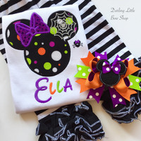 Not So Scary Halloween shirt or bodysuit for girls -- Miss Mouse ears with spider web -- ADORABLE!