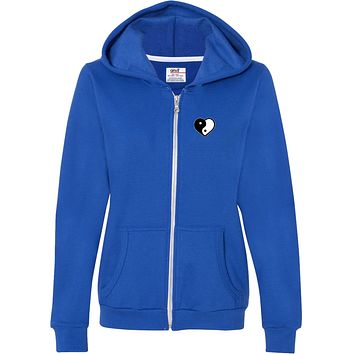 Yin Yang Heart Pocket Print Full-Zip Hooded Sweatshirt