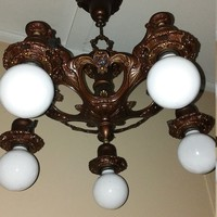 Vintage Art Deco 5 Light Chandelier Polychrome 1920s Refinished and Rewired