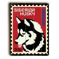 Siberian Husky Postage Stamp by Artist Ginger Oliphant Wood Sign