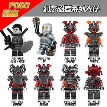 Ninjago Buffmillion Vermin Slackjaw Rivett Tannin Ash Neuro Snake Building Bricks Toys Compatible With Lego Block Figure