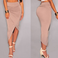 Mocha Asymmetrical Draped Skirt