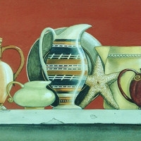 Original Painting Coastal Still Life Seashell Art Pottery Pitchers Signed Original