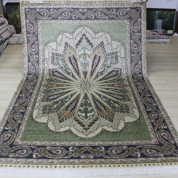 6'x9' Hand Knotted Pure Silk Rug Oriental Persian Peacock Feather Design (MYX-6905, Light Green & Multi)