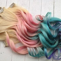 Pastel Tie Dye Hair/Blonde Ombre Extensions/Pastel Pink/Blue/Purple