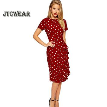 Summer Elegant Vintage Polka Dot Slim Frill Large Size Professional Tunic dress Office Work Business Bodycon Sheath Dress 135