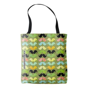 Personalized Mustache Party Green Tote Bag