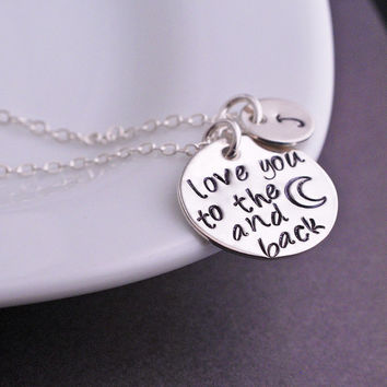Love You to the Moon and Back Necklace, Personalized Moon Jewelry in Sterling Silver, Holiday Gift for Daughter