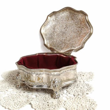 Vintage Jewelry Box , Silver Trinket Box , Red Velvet Interior , Lion Head Crest , Footed , Silver Jewelry Box