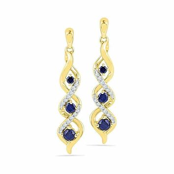 10kt Yellow Gold Women's Round Lab-Created Blue Sapphire Cascade Dangle Earrings 1-2 Cttw - FREE Shipping (USA/CAN)