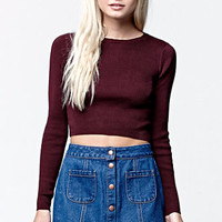 LA Hearts Long Sleeve Ribbed Cropped Pullover Sweater at PacSun.com