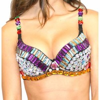 Rainbow Rhinestone Purple Bra Top