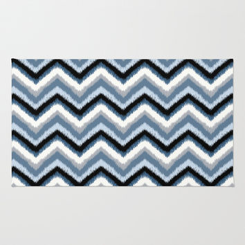 Ikat Chevron: Stormy Blue Area & Throw Rug by Eileen Paulino