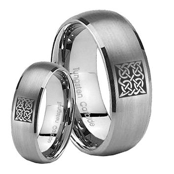 His Her Satin Silver Dome Square Celtic Tungsten Carbide Wedding Rings Set